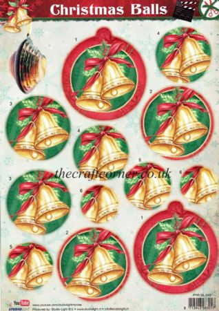 Christmas Ball Pyramid Decoration Die Cut 3d Decoupage With Bell Design